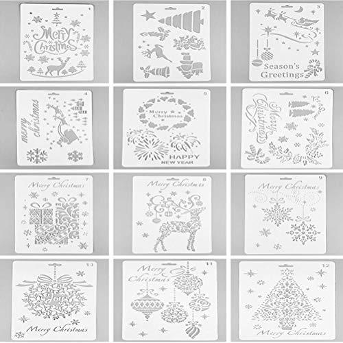 JETTINGBUY 12Pezzi plastica Disegno Stencil Pittura Natale Pittura Modelli per Bambini Artigianato Lavabile Modello per progetti scolastici–25.9x 17.2cm/25,9x 17,2cm