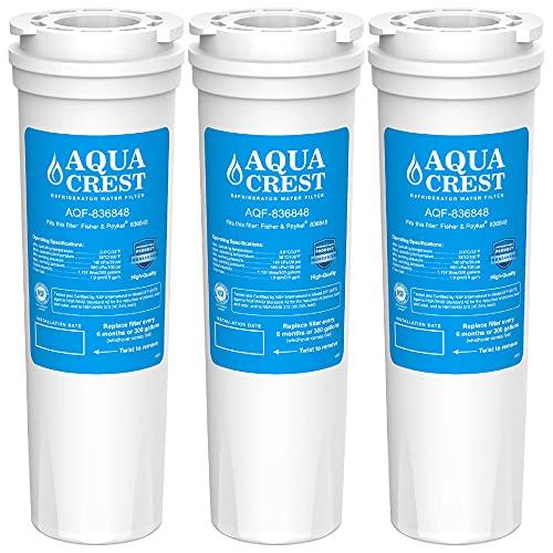 AQUACREST 836848 Kühlschrank Wasserfilter, Kompatibel mit Fisher & Paykel 836848, 836860, E404BRXFDU, E522BRXFDU, PS2067635, Maytag/Amana Clean 'n Clear, RO185011, RO185014, 67003662, WF60 (3)