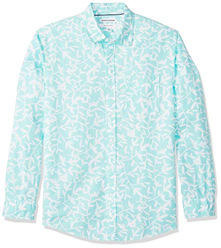 Amazon Essentials - Camisa regular de lino a cuadros con manga larga para hombre, Aqua Leaf Print,...