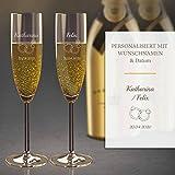 2 Sektgläser mit Gravur (Hochzeit) | Edle Sekt-Gläser mit Namen und Datum| Personalisierte individuelle Geschenkidee | Hochzeits-Geschenk - Geeignet für Champagner & Sekt