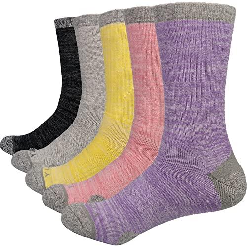YUEDGE Calcetines Deportivos con Cojín Para Mujer, Calcetines Algodón Transpirable Caminar, Senderismo, Para Mujer Talla 35-39 (Pack de 5)