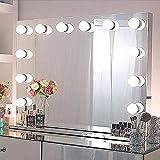 Chende Espejo Maquillaje con luz, Espejo Hollywood de Tocador con Enchufe Extra UE para Dormitorio, Grande Espejo de Teatro Profesional con 14 Bombillas LED (80cm X 60cm)
