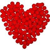 Sumind 100 pompones de Navidad esponjosos pompones bolas para decoración, manualidades, manualidades, color rojo (2,54 cm)