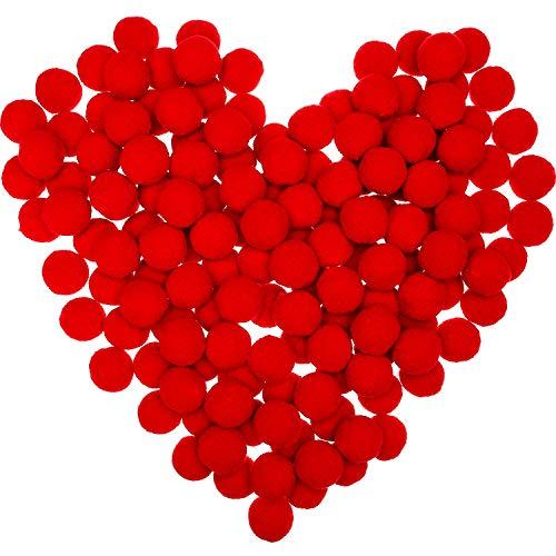 Sumind 100 Pieces Pom Poms Christmas Fluffy Pom Poms Balls for Decorations Arts Crafts DIY, Red (2.5 cm)