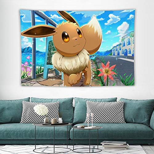 Tapestry,Eevee,Best children birthday present,Cartoon Anime Wall Hanging Art for Bedroom Living Room College Dorm Home Decor,60x40 inches