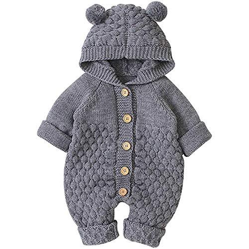 Vêtements de Bébé Nouveau-né Hiver Body à Capuche Garçon et Fille Barboteuse en Coton Tricoté...
