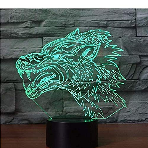 Luz nocturna 3D Wild Wolf eléctrica, lámpara de ilusión LED con 7 cambios de color, USB, control táctil, lámpara de escritorio para niños, juguete de regalo