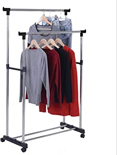 VIPRIDDH Portable Foldable Stainless Steel Double Pole Telescoplc Clothes Rack, Clothes and Garment Hanging Rack, Laundry ...
