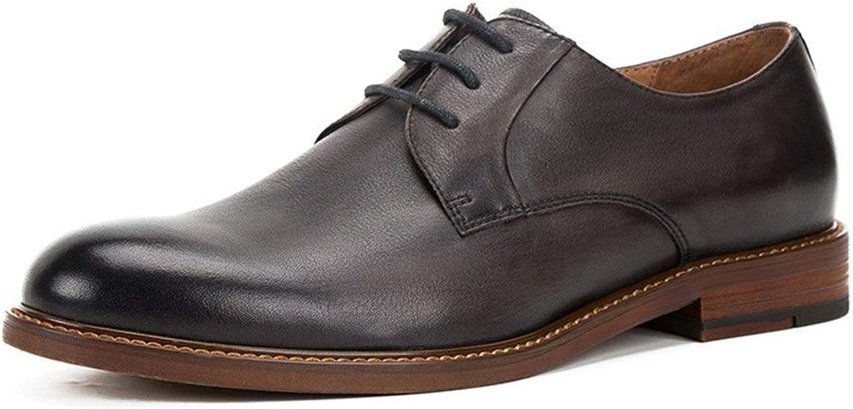 Handmade British Wild Casual shoes lace Leather Retro shoes Men's Business Oxford Dress shoes (color   Black, Size   6.5UK)