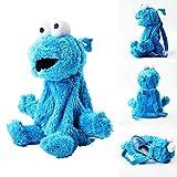 QIER Bolso De Felpa De Barrio Sésamo De Dibujos Animados Mochila De Felpa Azul Cookie Guy para Niños Y Niñas Muñeca Regalo para Niños 45Cm