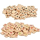 BUYGOO 500 Wood Scrabble Tiles - Includes 300Pcs Colorful Wood Scrabble Tiles Letter Tiles and 200Pcs Wood Scrabble Tiles Numbers Symbols for Crafts, Pendants, Spelling, Scrapbooking, Decoration