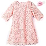 Girls Dress for 7-8 Years Fall Christmas Easter Party Dresses Long Sleeve Special Occasion Dresses for Teens White Bridesmaid Lace Dresses Infant Junior Dresses (Pink 160)