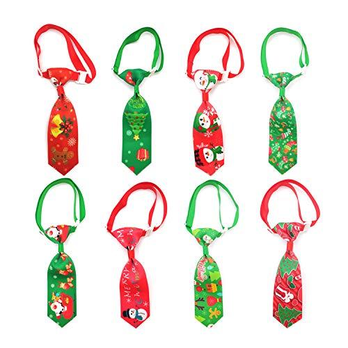 QKURT 8 Stück Katzen- und Hunde-Krawatten für Weihnachten mit verstellbarem Schleifenhalsband, Weihnachts-Haustier-Krawatte, Hunde-Fliege, Hals-Pflege-Krawatte, Party-Zubehör