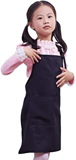 VILONG Black Kids Apron, Medium Bib,2-10 Year Old Children's Smocks for Classroom,Community Event,Crafts and Art Painting Activity,Kitchen Cooking Baking