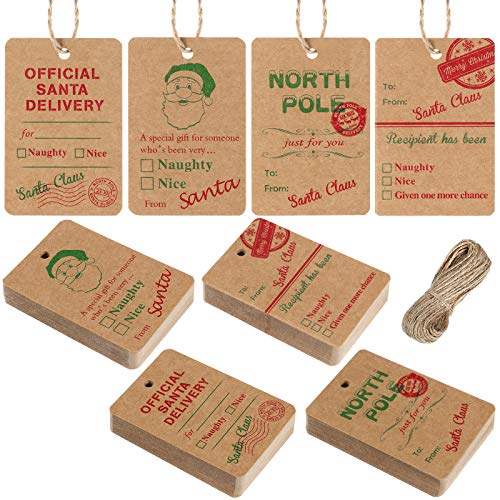 Outus 120 Pieces Christmas Paper Tags Kraft Present Tags Santa Claus Tags Natural Kraft Label Tags Xmas Kraft Tags Hang Labels with 66 Feet Twine Rope for Christmas Holiday Supplies