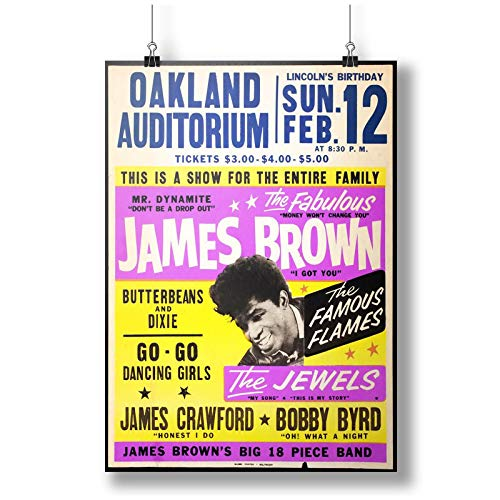 INNOGLEN Poster James Brown Oakland Auditorium A0 A1 A2 A3 A4 Satin Photo Poster p10190h