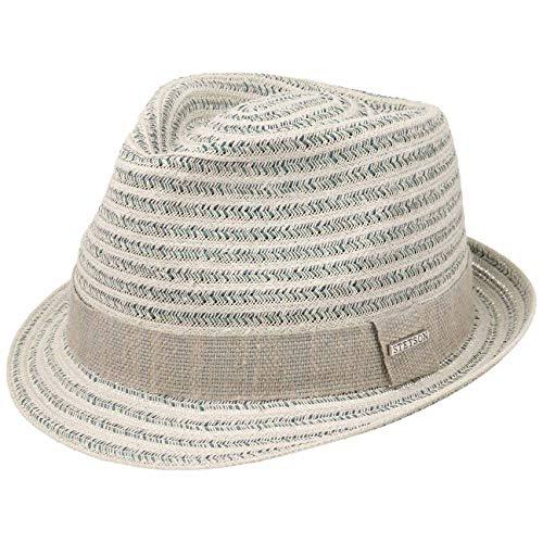 Stetson Cappello di Paglia Lopez Toyo Trilby Donna/Uomo - da Sole Estivo Cappelli Spiaggia con Nastro in Grosgrain Primavera/Estate - L (58-59 cm) Grigio