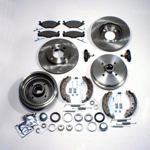 Bremsscheiben + Beläge vorne + Bremstrommeln + Backen Radlager Zubehör hinten
