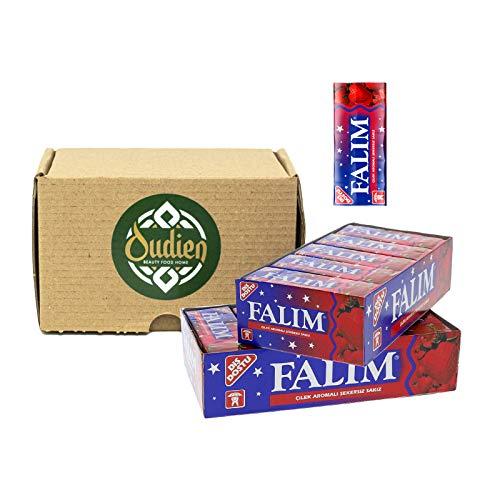 OUDIEN Original Falim Damla Diät Kaugummi Erdbeere ohne Zucker, zuckerfrei 2x 20ger Pack à 5 Kaugummis, türkische Süßigkeit