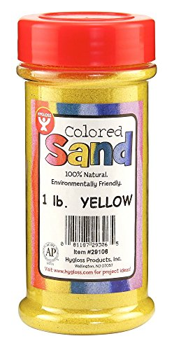 Hygloss Products Colored Play Sand - Assorted Colorful Craft Art Bucket O' Sand, Yellow, 1 lb