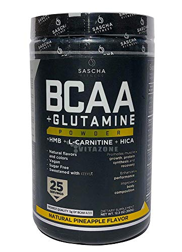 Sascha Fitness BCAA 4:1:1 + Glutamine,HMB,L-Carnitine, HICA   Powerful and Instant Powder Blend with Branched Chain Amino Acids (BCAAs) for Pre, Intra and Post-Workout   Natural Pineapple Flavor,350g