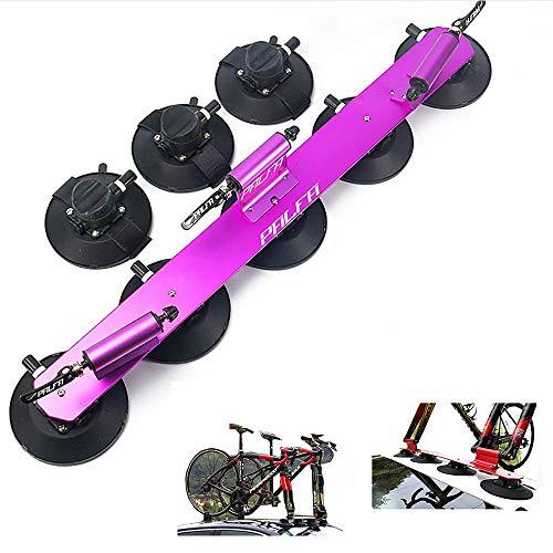 Yajun Portabicicletas con Ventosa Baca Techo para Bicicleta Aluminio Estante De Transporte Montaje Coche Piezas De Bicicleta,Purple-3