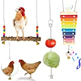 Firecos 4PCS Chicken Toys for Coop Chicken Xylophone Swing Toy Mirror Vegetable Fruits Feeder Holder for Hens Chicks