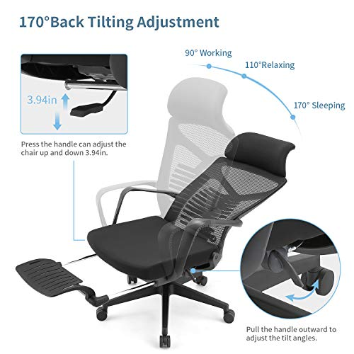 SIHOO Ergonomic High Back Office Chair with Adjustable Lumbar Support, Reclining Office Desk Chair, Computer Mesh Chair with Footrest (Black)