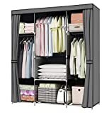 YOUUD 59 Inches Wardrobe Storage Closet Clothes Portable Wardrobe Closet Organizer Portable Closets Wardrobe Closet Organizer Shelf Wardrobe Clothes Organizer Standing Closet Gray