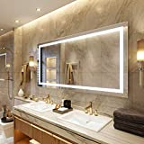 Petus PetusHouse 72 X 36 Inch LED Lighted Bathroom Mirrors, Wall Mounted White Light Dimmable Anti-Fog Memory Touch Button Waterproof CRI90 5MM Copper Free Mirrors, Vertical & Horizontal