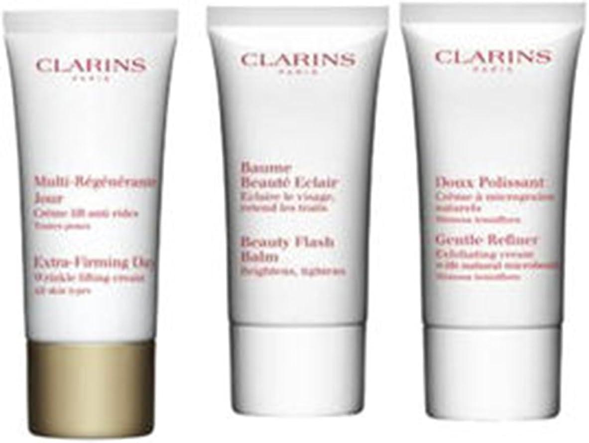ハンディモーター不道徳クラランス Extra-Firming 40+ Anti-Ageing Skincare Set:Gentle Refiner 30ml +Extra-Firming Day Cream 30ml+ Beauty Flash Balm 30ml 3pcs並行輸入品