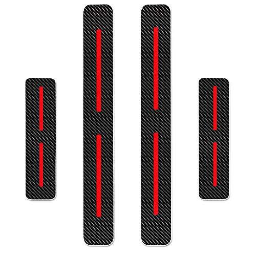 Einstiegsleiste Schutz Aufkleber Reflektierende Lackschutzfolie für Compass Grand Cherokee Patriot Wrangler Einstiegsleisten Rot 4 Stück