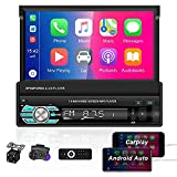 AMprime Single Din Car Stereo 7 Inch Touch Screen Car Audio Radio with Bluetooth MP5 Player D- Play & Android Auto, Mirror Link, FM Radio, AUX / USB / TF Card Input + Remote Control + Backup Camera