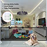 Dog Magic Guard, Magic Gate for Dogs Pet Safety Gate 70.9'x28.3' Portable Folding Mesh Easy Install Anywhere with 8 Sticky Hook, 4 Sets Screw