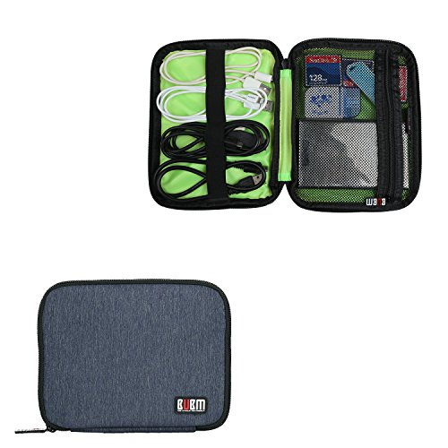 BUBM Mini Hard Drive Carry Case, Travel Electronics Accessories USB Cable Organizer Bag, Fit for External Hard Drive, Cf Cards, Power Bank Or Phone, (Mini, Dark Blue)