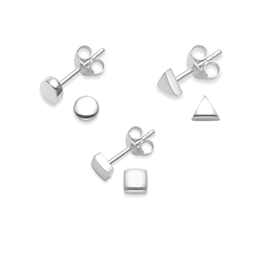 1434632fb Heather Needham Sterling Silver set of 3 pairs stud Earrings - Square,  Triangle & Round