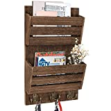 Unistyle Rustic Mail Organizer and Key Holder for Wall with 4 Key Hooks, Mail Organizer for Wall Mount , Mail Holder for Wall,Wall Mail Organizer with Key Hanger for Bill, Letter, Magazines, Leashes