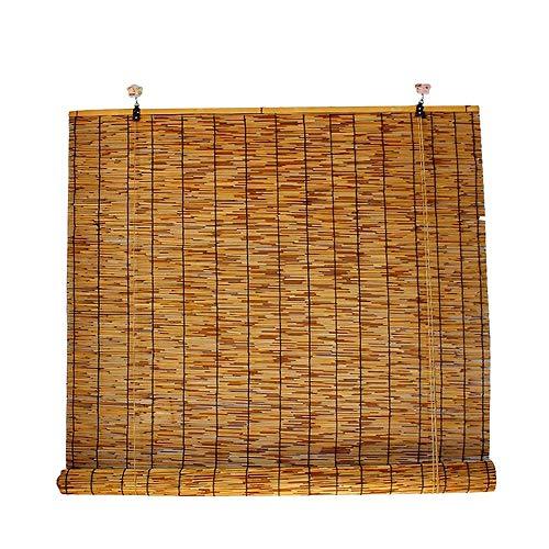 Cakunmik Sombra y Lluvia Al Aire Libre Bambú Rollo, filtración Ligera Natural Bamboo Rollo, Pabellón de la terraza, Bambú Rollo para el Auge del té, Oficina, Oscuridad Retro Rolloos 60x200cm