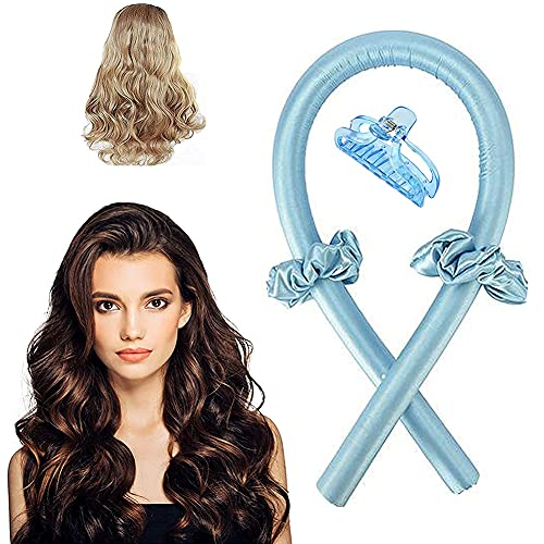 Heatless Curling Rod, Heatless Hair Curlers For Long Hair To Sleep In Overnight, The Soft Foam Will Not Harm The Hair, Suitable for Natural Hair (Blue)
