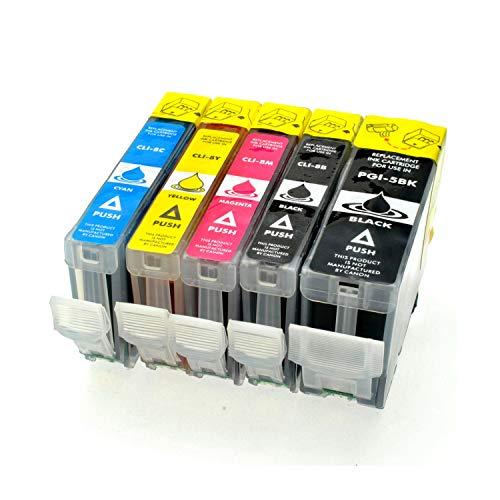 Logic-Seek 5 Tintenpatronen kompatibel für Canon Pixma PGI-5 CLI-8, IP4200 IP4300 IP4500 IP5200 IP5300 IP6600 IP6700 MP500 MP530 MP600 MP610 MP800 MP810 MP830 MP970 MX850 Pro 9000 Mark II
