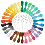 Lanyard String, Boondoggle Making Kit, Plastic Lacing Cord for Kids Crafts with 15 Keychains (31 Colors, 40 ft each)