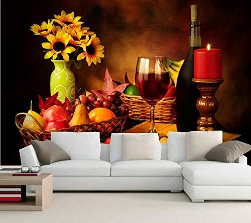 SKTYEE Benutzerdefinierte Stillleben Wein Kerzen Obst Vase Essen Tapete, Hotel Restaurant Bar Wohnzimmer TV Sofa Wand Schlafzimmer Küche Tapete, 350x245 cm (137.8 by 96.5 in)