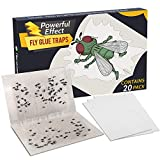 Kensizer 20-Pack House Fruit Flies Catcher Board Sticky Glue Paper Traps for Houseflies and Blowflies, Fly Killer for Kitchen Indoor