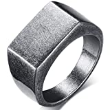 Retro Vintage Style Stainless Steel Signet Ring (Grey, 8)