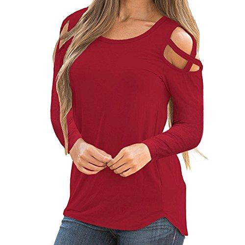 Kobay Femmes Manche Longue Lanière T-Shirt Uni Aux épaules Dénudées(Medium,Rouge)