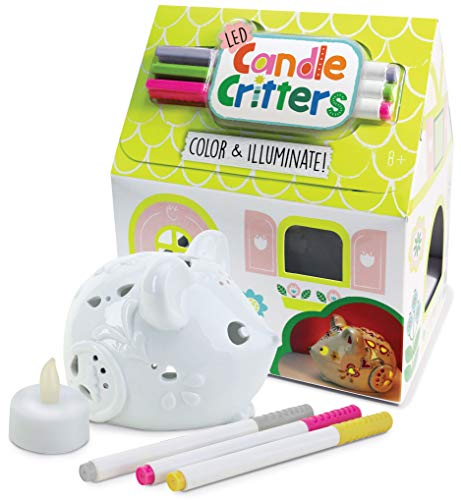 Bright Stripes LED Candle Critters Mouse - Color & Illuminate DIY Ready to Decorate Craft Kit with 3 Ceramic Markers and Ceramic Mouse in Cottage Shaped Box - Perfect Kids Coloring or Art Activity