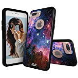 Unnito iPhone 7 Plus Case – Hybrid Commuter Case | Slim Cover with Hard Shell Design and Soft Inner Layer Compatible with iPhone 8 Plus Black Case - Galaxy Nebula