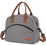 Insulated Lunch Box Bag with Detachable Shoulder Strap & Carry Handle,Leak Proof Reusable Lunch bag, Eco-friendly Cooler Bag,School Lunch Box for Kids,Men,Women (black&white stripe)