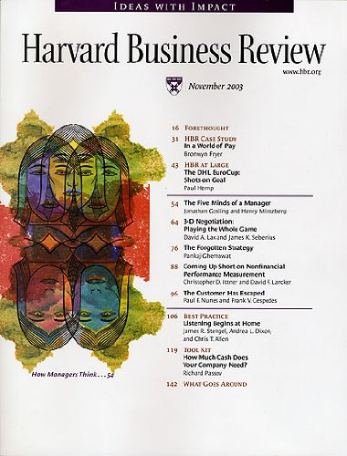 Harvard Business Review, November 2003 copertina
