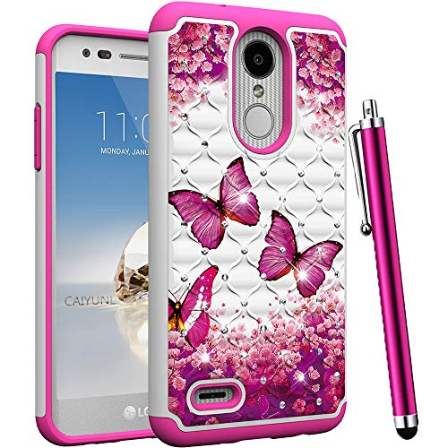 CAIYUNL for LG Aristo 2 Case, LG Tribute Dynasty, Zone 4, Fortune 2, K8 2018,K8 Plus,Risio 3,Rebel 3 LTE Bling Luxury Studded Rhinestone Girls Women Protective Dual Layer Hard Cover-Hot Pink Butterfly